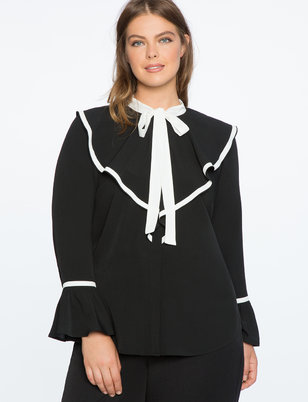 Contrast Ruffle Collar Blouse