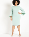 Flare Sleeve Scuba Dress Minty Seafoam