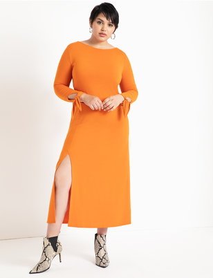 Boat Neck Tie Sleeve Dress