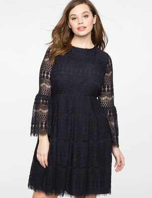 Striped Lace Flare Sleeve Dress