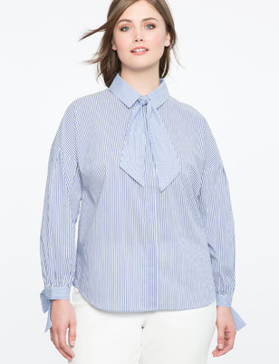 Tie Neck Gathered Sleeve Shirt