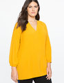 Pleated V-Neck Top Goldenrod