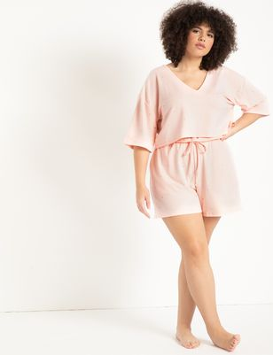 Embellished Lounge Short with Ruffle Waist