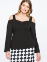 Cold Shoulder Sweetheart Neckline Top BLACK