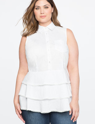 Button Up Peplum Top with Lace Trim