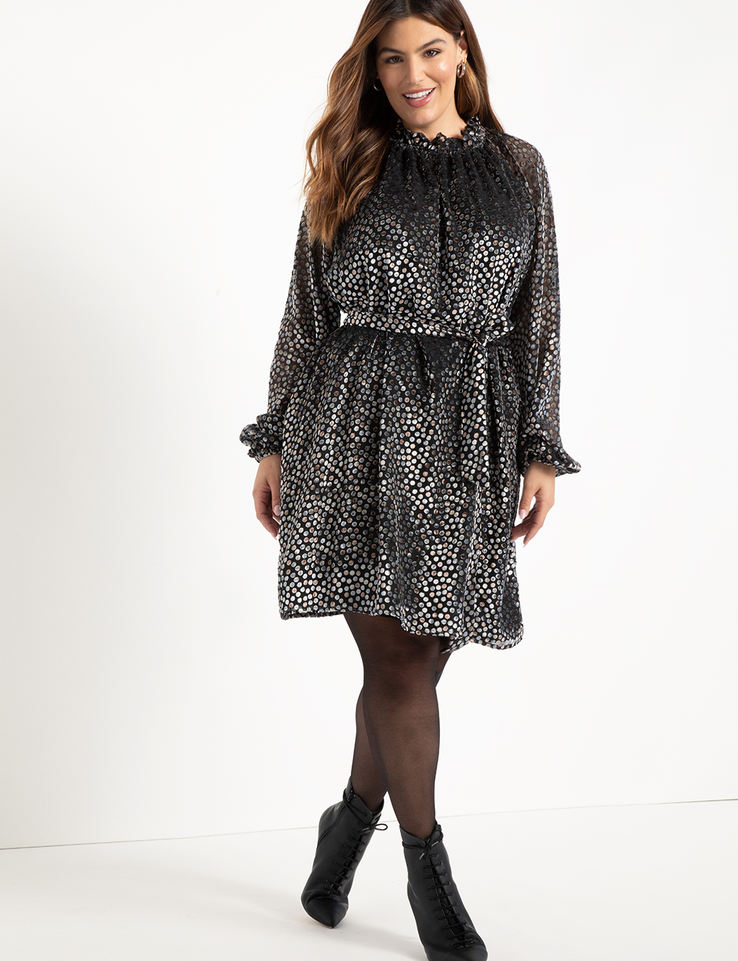ELOQUII Elements Flock Dot Easy Dress
