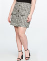 Tweed A-Line Skirt with Pockets BLACK/WHITE TWEED