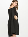 Off the Shoulder Cape Dress BLACK