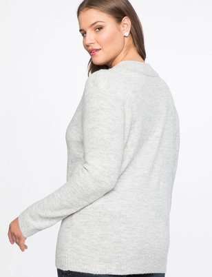 Dramatic Rib V-Neck Sweater