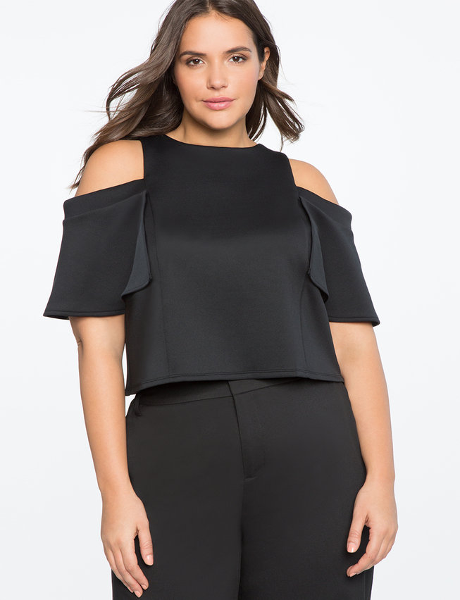 Cold Shoulder Flounce Detail Top