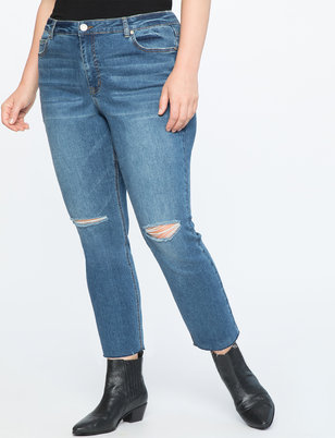 Slim Ankle Leg Crop Distressed Jean