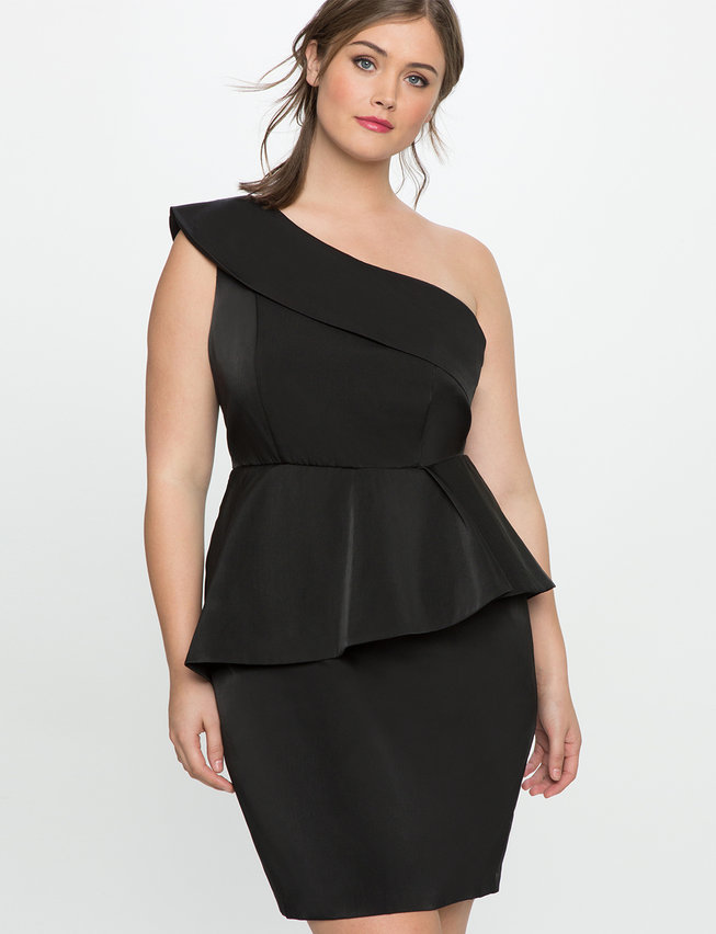 One Shoulder Peplum Dress Womens Plus Size Dresses Eloquii