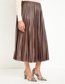 Pleated Faux Leather Skirt Melted Chocolate