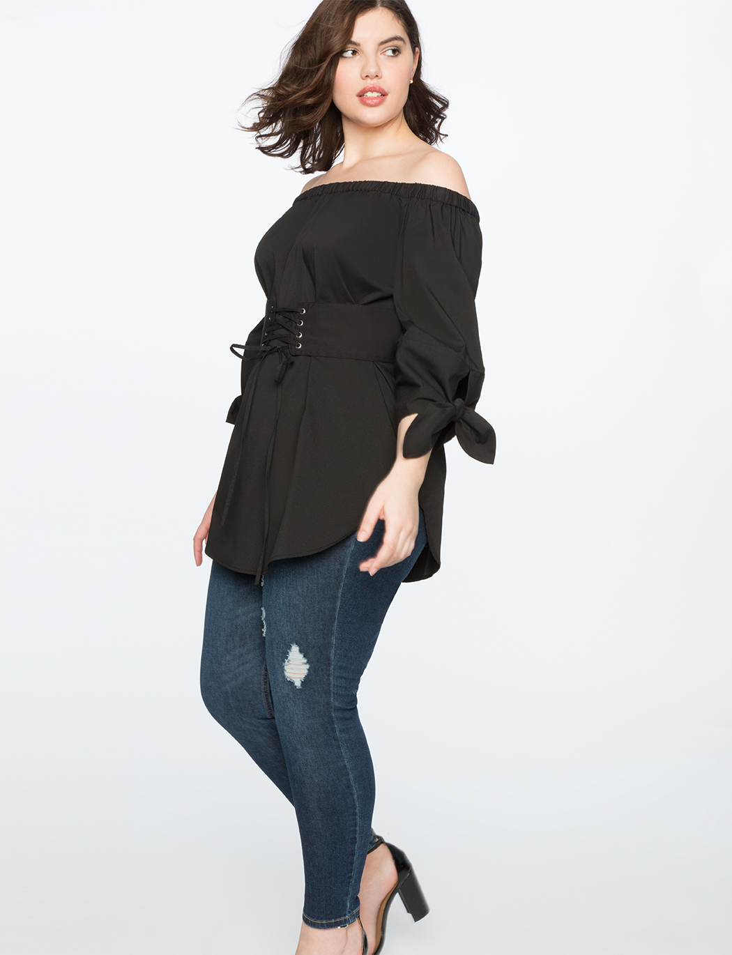 Off the Shoulder Corset Tunic Top