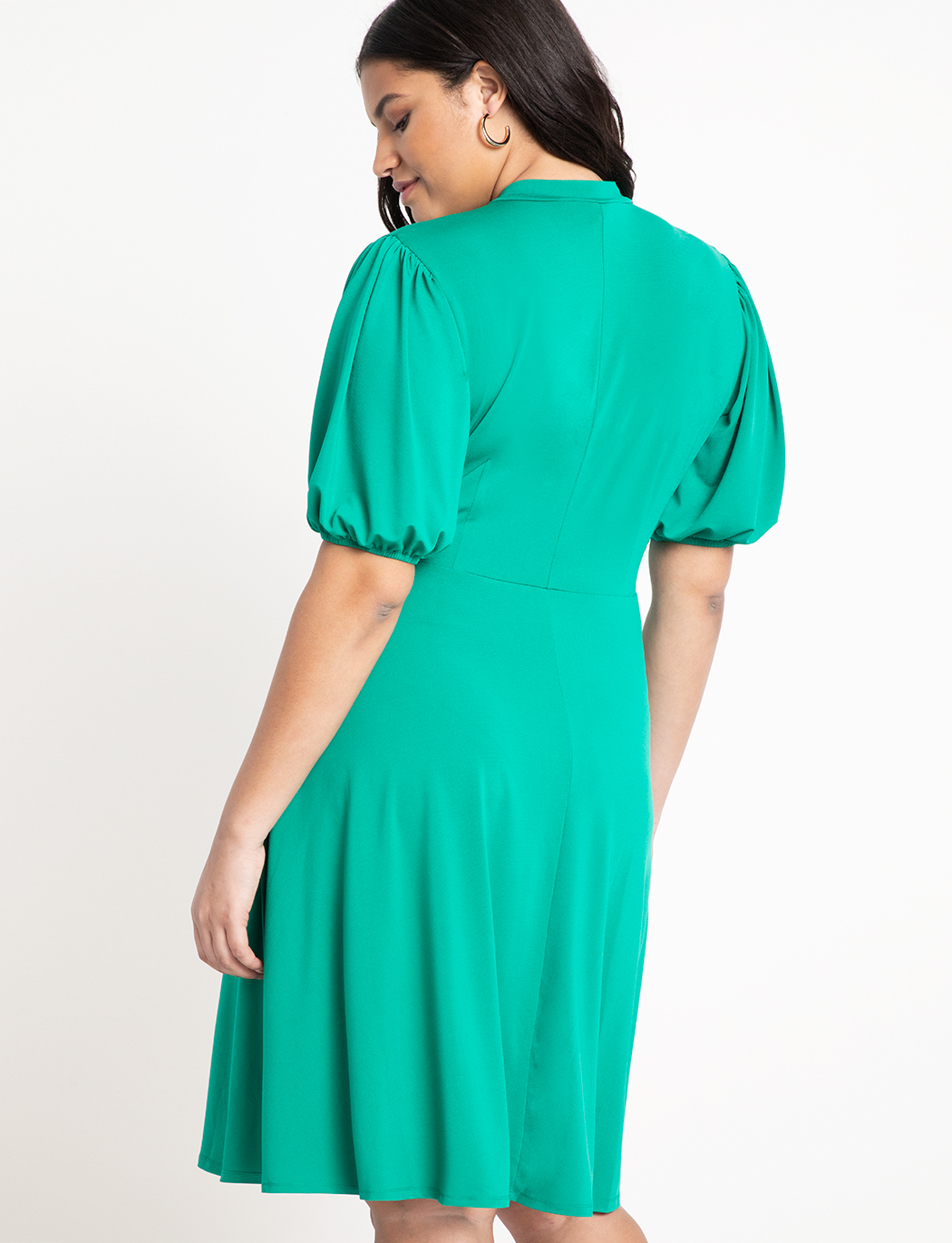 Short Sleeve Tie Neck Midi Dress