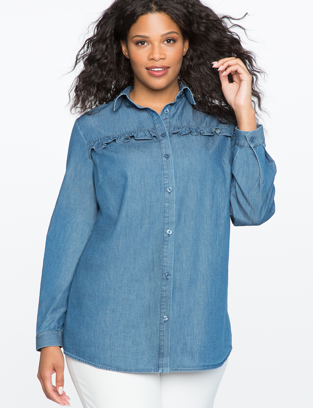 d108fd66156 Chambray Top with Ruffle Detail