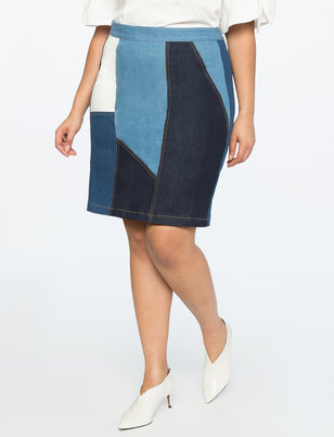 Colorblock Denim Skirt