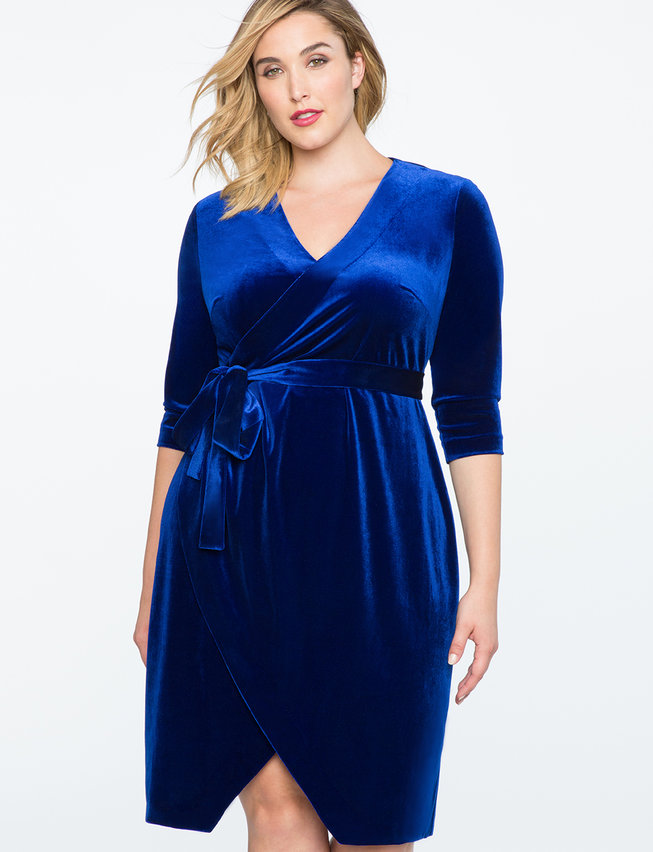 Velvet Wrap Dress | Women's Plus Size Dresses