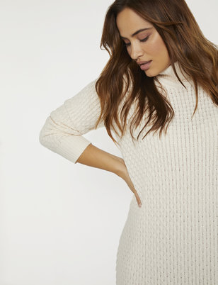 Honeycomb Turtleneck Sweater Dress