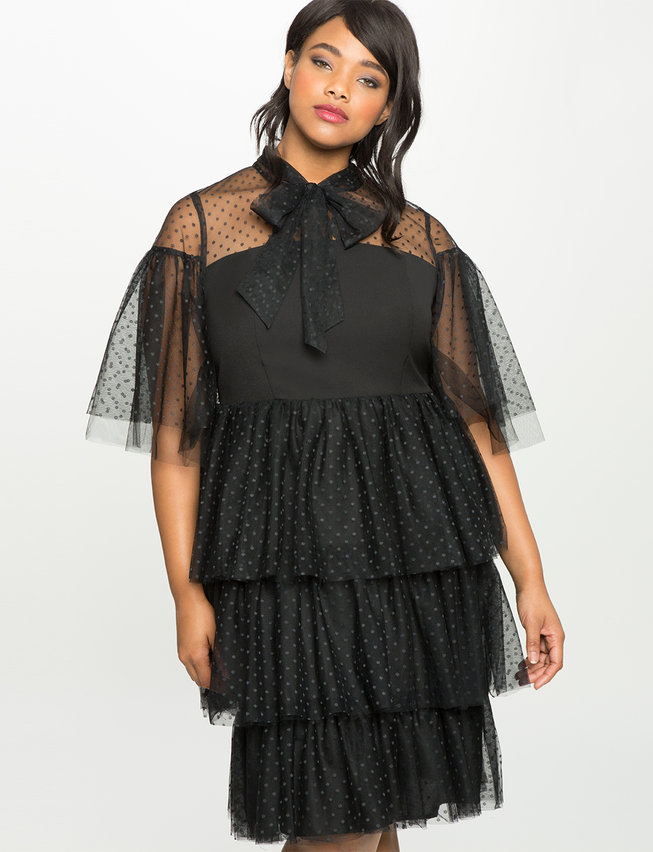 Studio Ruffled Tiered Tulle Dress Womens Plus Size Dresses Eloquii