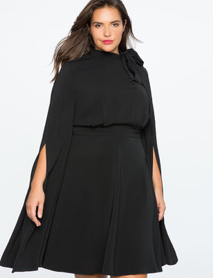 Cape Sleeve Fit And Flare Dress