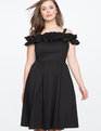 Ruffle Detail Fit and Flare Dress BLACK