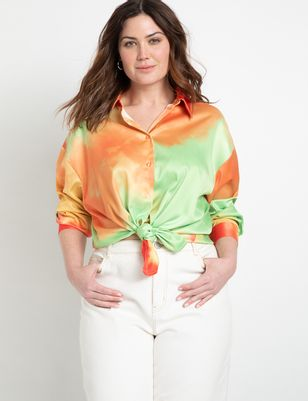 Dip Dye Satin Button Down Top