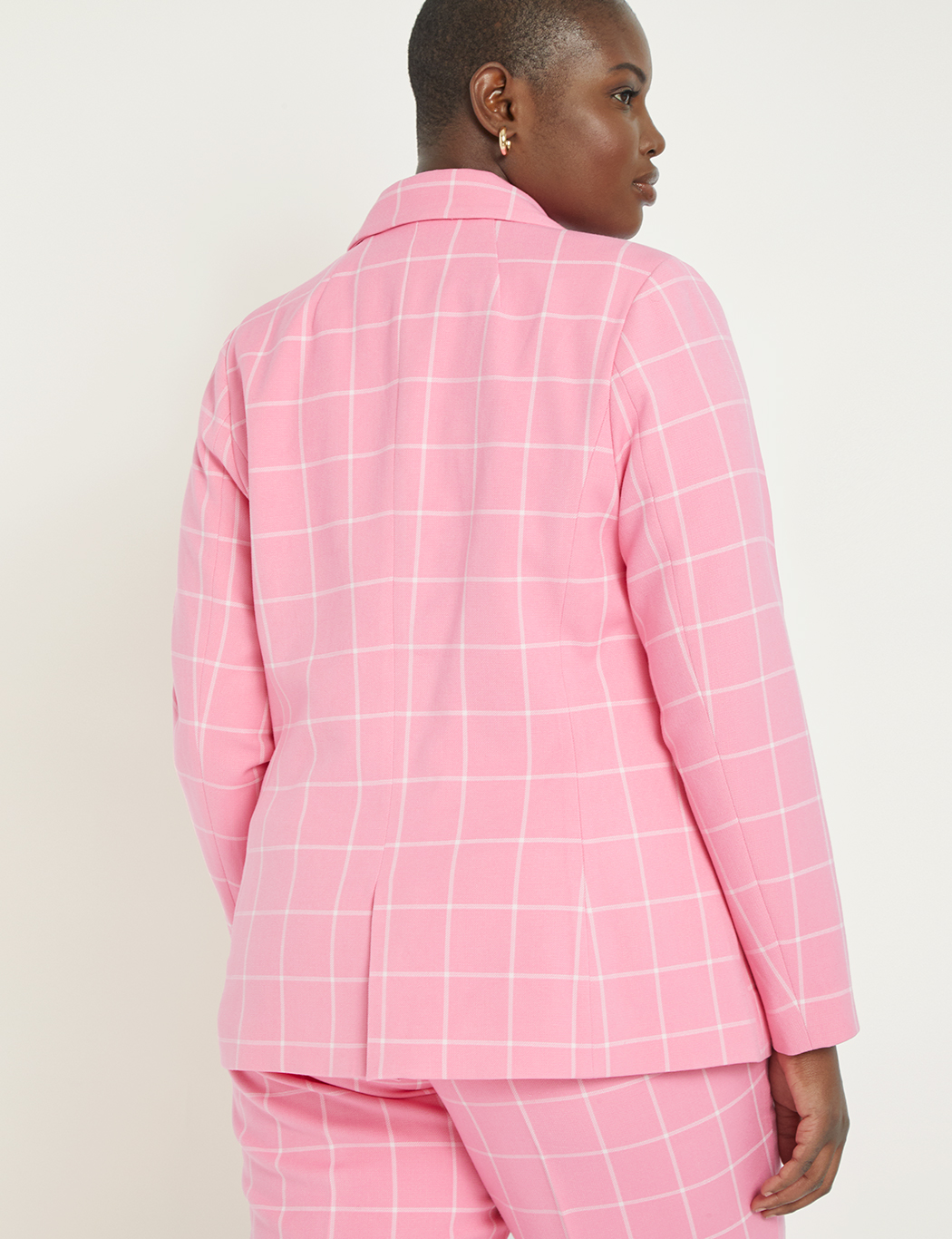 Windowpane Double Breasted Blazer