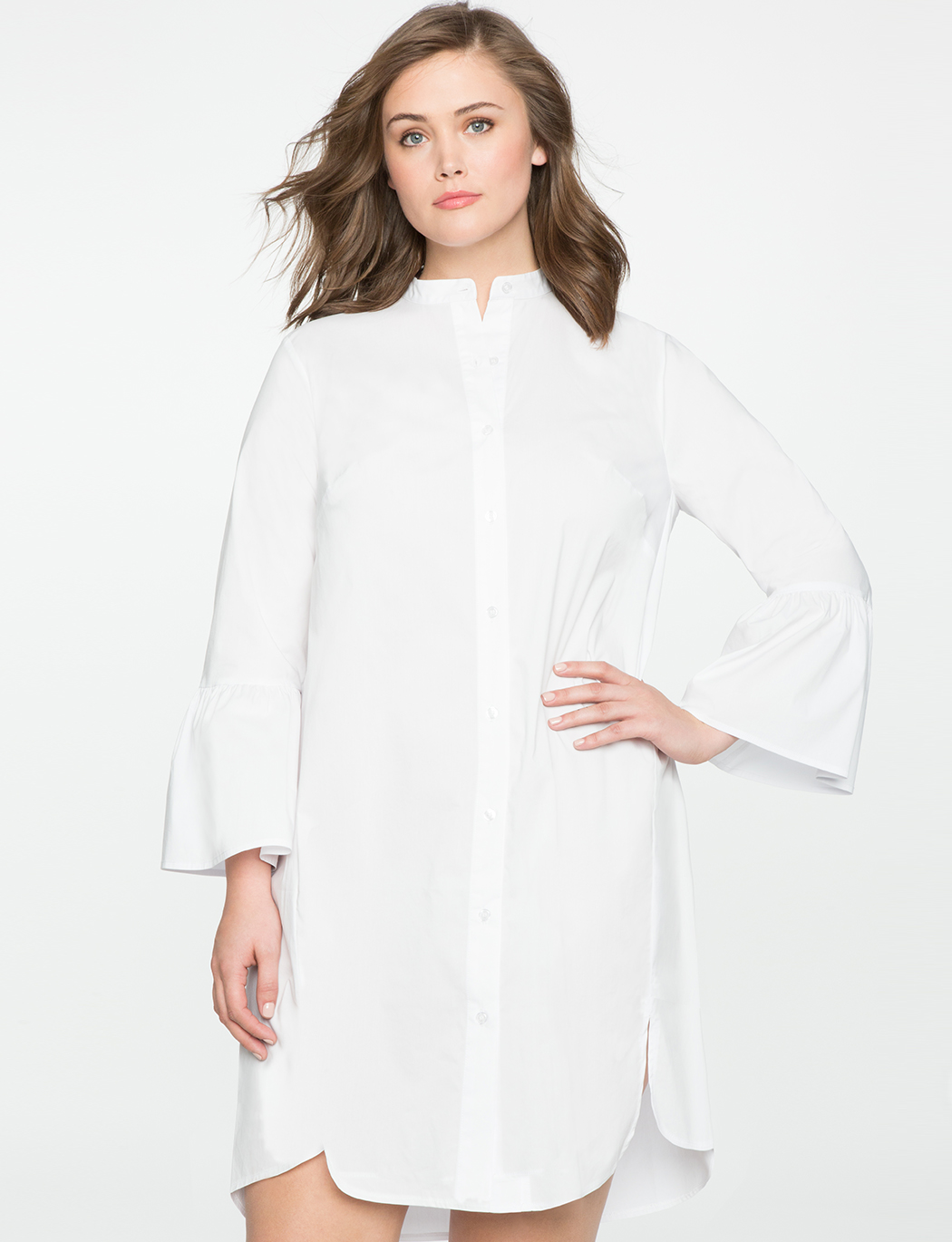Shirt Dress with Flare Sleeves | Women\'s Plus Size Dresses | ELOQUII