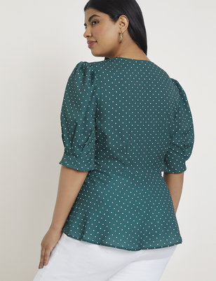 Puff Sleeve Top with Peplum