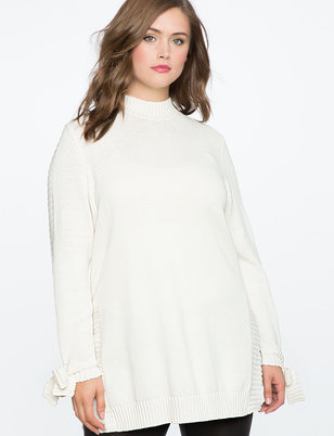 Tie Sleeve Tunic Sweater with Slits