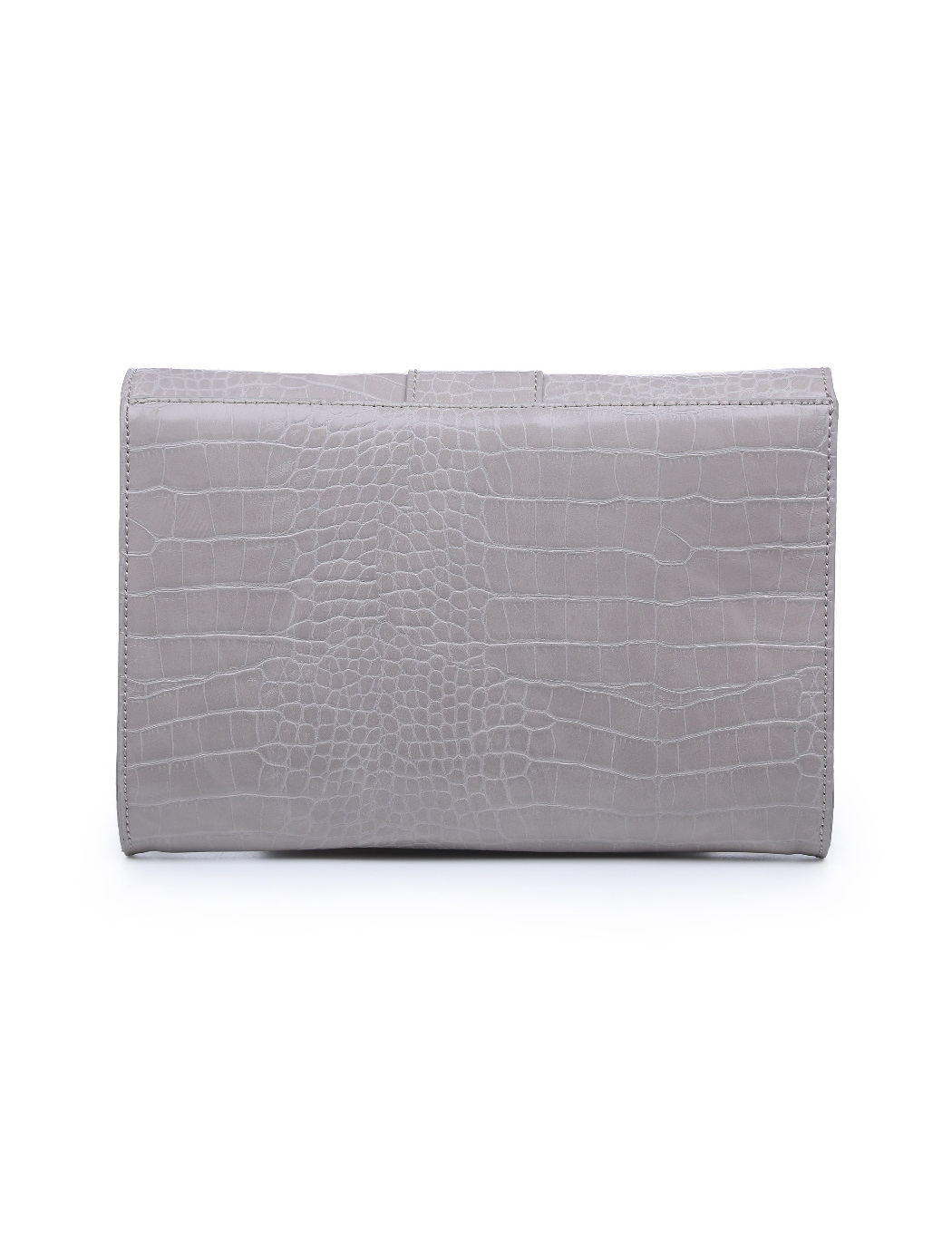 Croc Embossed Buckle Clutch