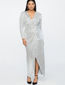 Jason Wu X ELOQUII Sequin Wrap Gown Shiny Silver