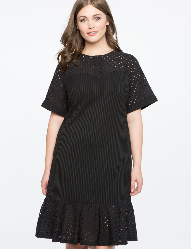 Eyelet Detail Dress With Flounce Hem Womens Plus Size Dresses