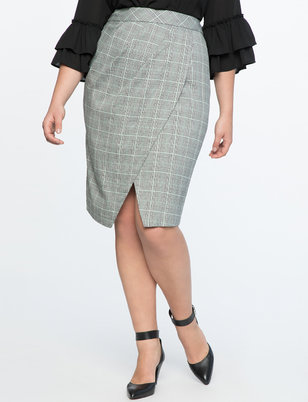 Plaid Tulip Column Skirt