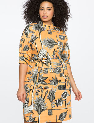 Printed Mock Neck Dress