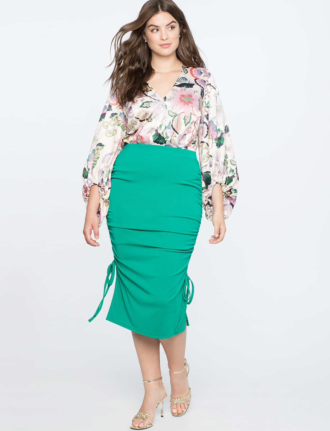 6519921afbf Pencil Skirt with Gathered Sides