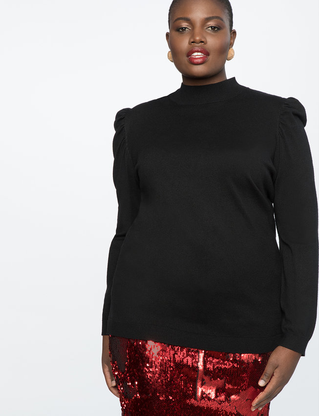 Puffed Shoulder Turtleneck Sweater