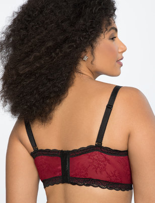 Velvet Longline Bra with Lace Detail