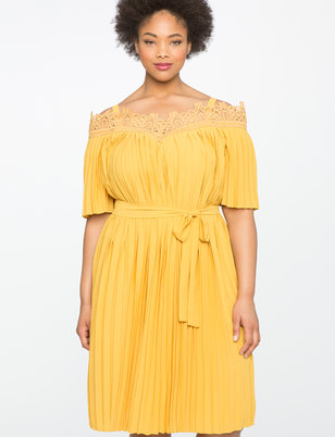 Lace Off The Shoulder Pleated Dress