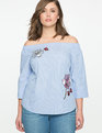 Studio Embroidered Off the Shoulder Top
