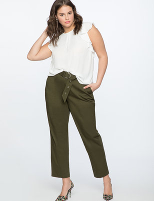 Pintuck Detail Pant with Belt