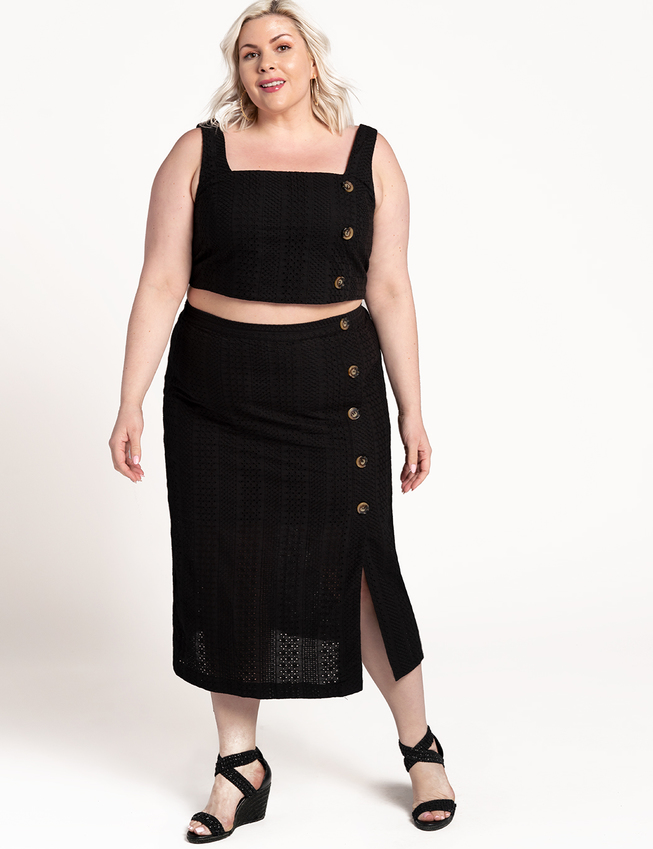 Eyelet Column Skirt with Button Detail