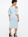 Flounce Sleeve Cold Shoulder Dress SHADOW BLUE