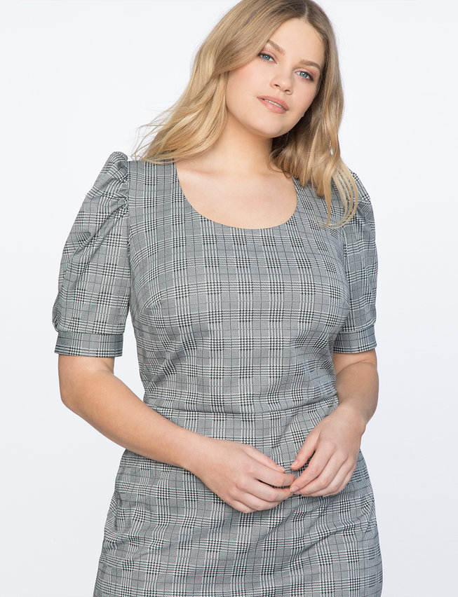 Puff Sleeve Check Dress
