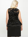 Embroidered Peplum Dress Black