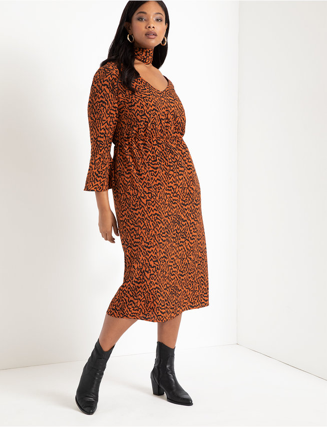 Printed Flare Sleeve Dress with Scarf