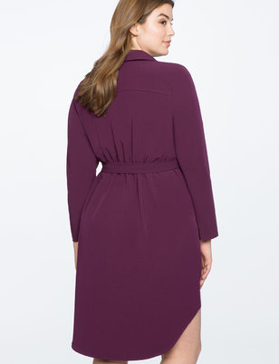 Hi Low Shirt Dress with Button Detail