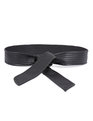Quilted Faux Leather Obi Belt Black