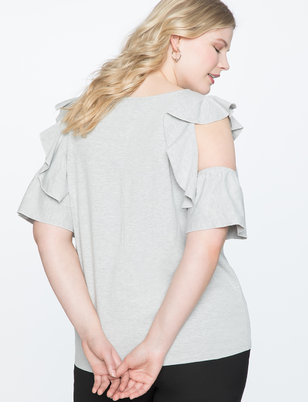 Cold Shoulder Tee with Flounce Detail